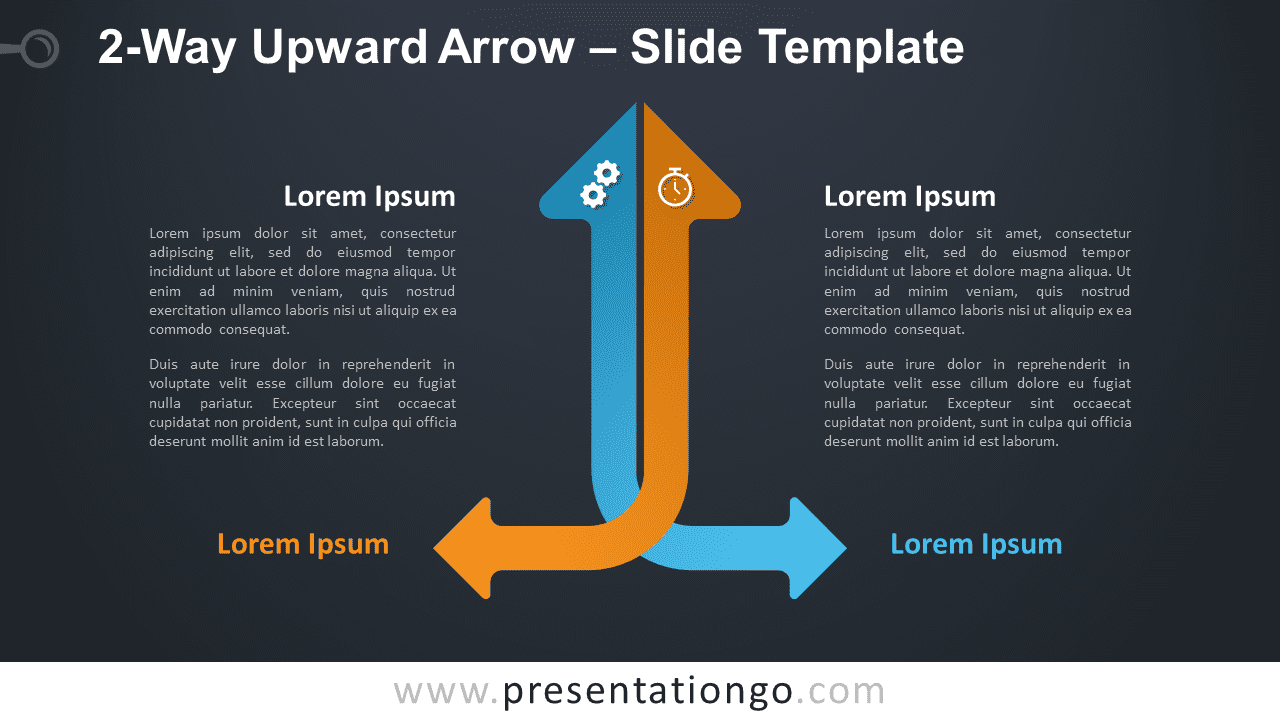 Free 2-Way Upward Arrow Diagram for PowerPoint and Google Slides