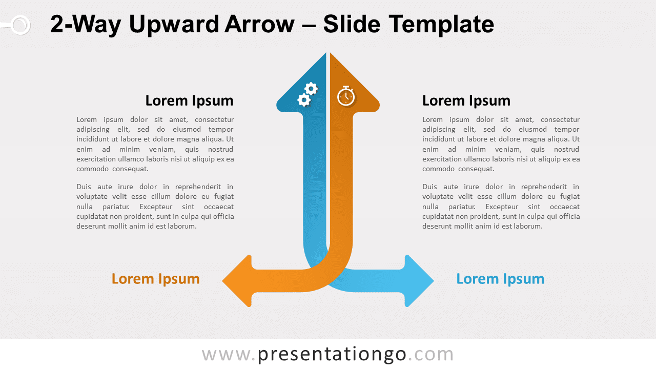 Free 2-Way Upward Arrow for PowerPoint and Google Slides