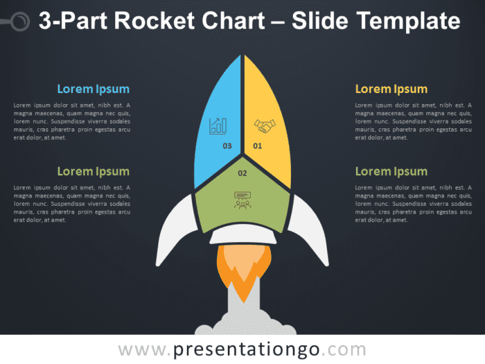 Free 3-Part Rocket Chart Diagram for PowerPoint