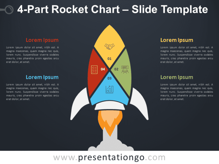 Free 4-Part Rocket Chart Diagram for PowerPoint