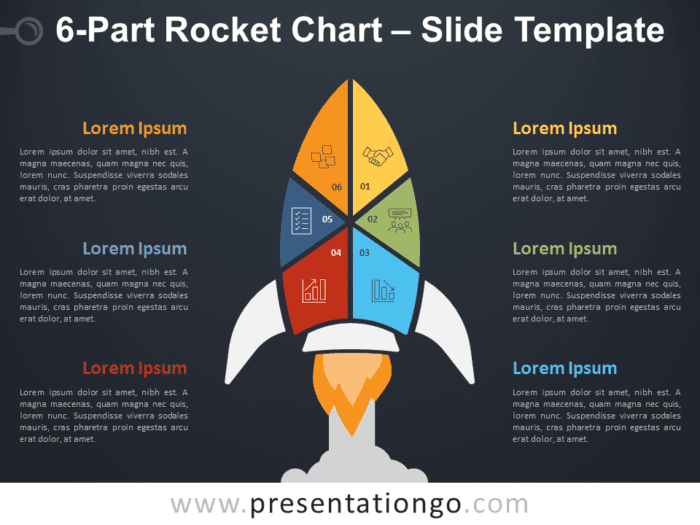 Free 6-Part Rocket Chart Diagram for PowerPoint