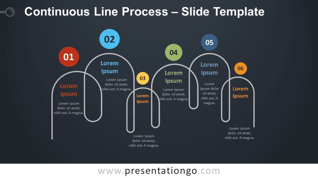Free Continuous Line Process Timeline for PowerPoint and Google Slides