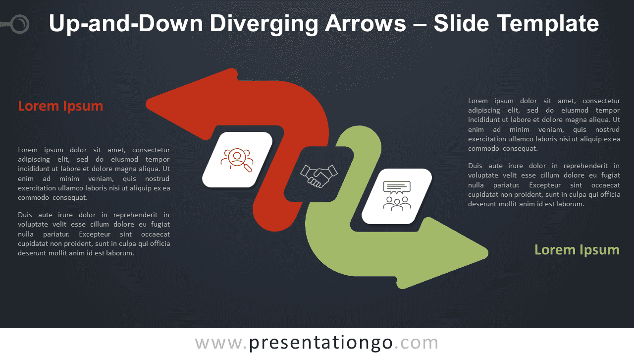Free Up-and-Down Diverging Arrows Diagram for PowerPoint and Google Slides