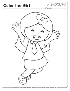 Color The Girl Free Worksheet (Black and White)