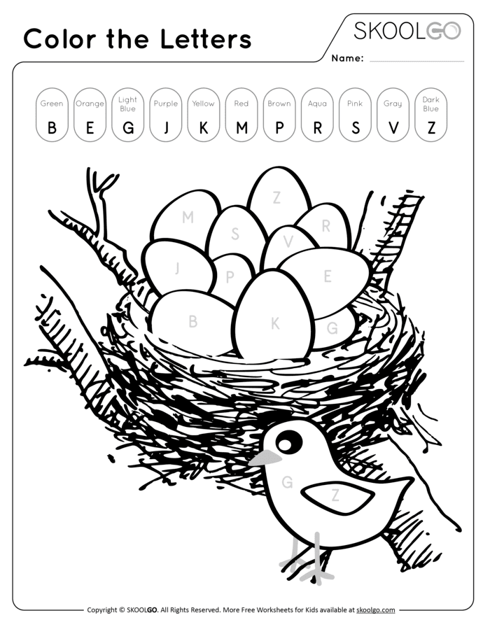 Color The Letters Free Worksheet (Black and White)