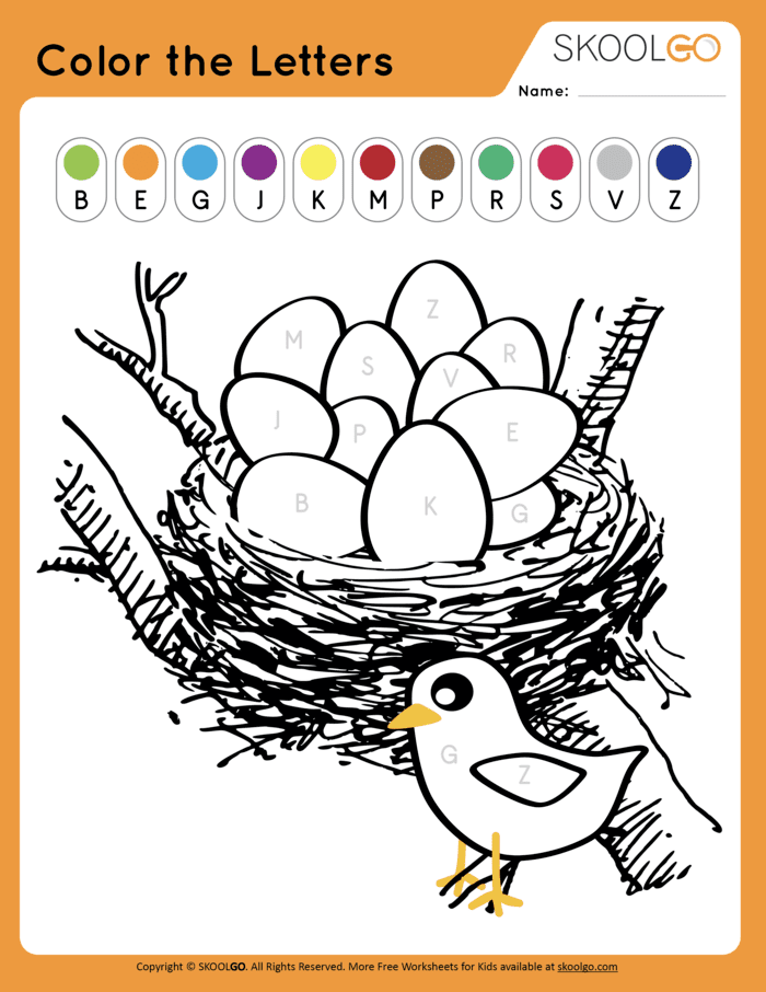 Color The Letters Free Worksheet