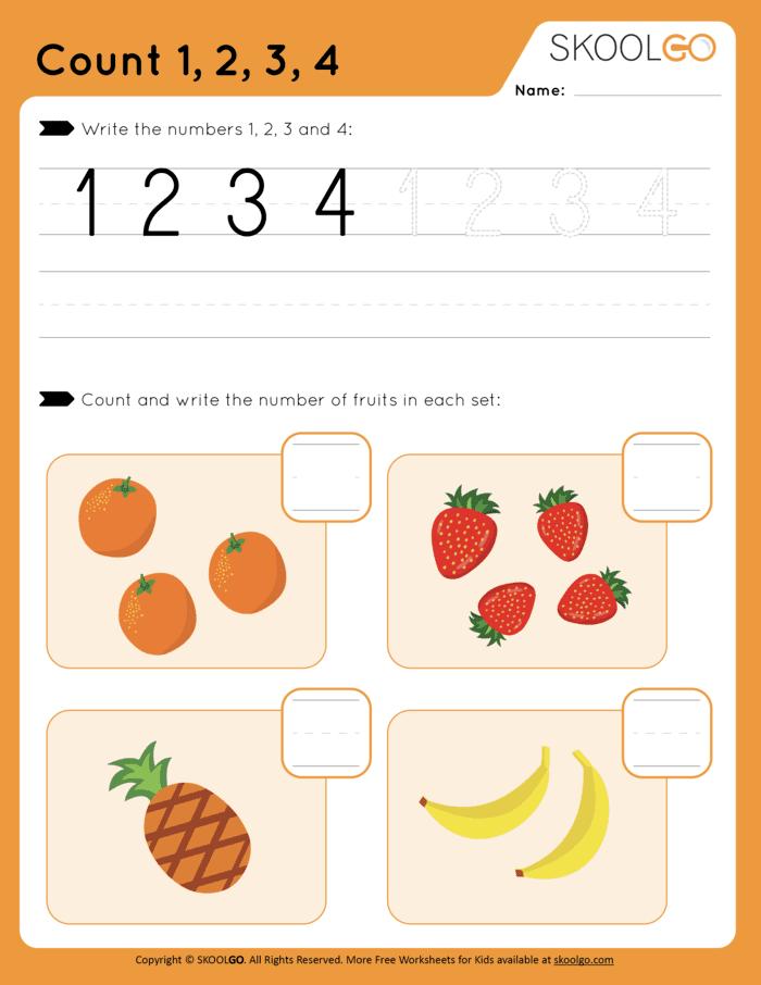 Count-1-2-3-4 Free Color Worksheet for Kids