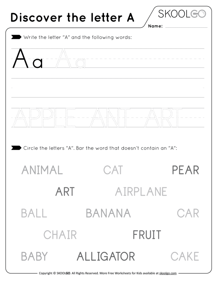 Discover The Letter A - Free Black and White Worksheet for Kids