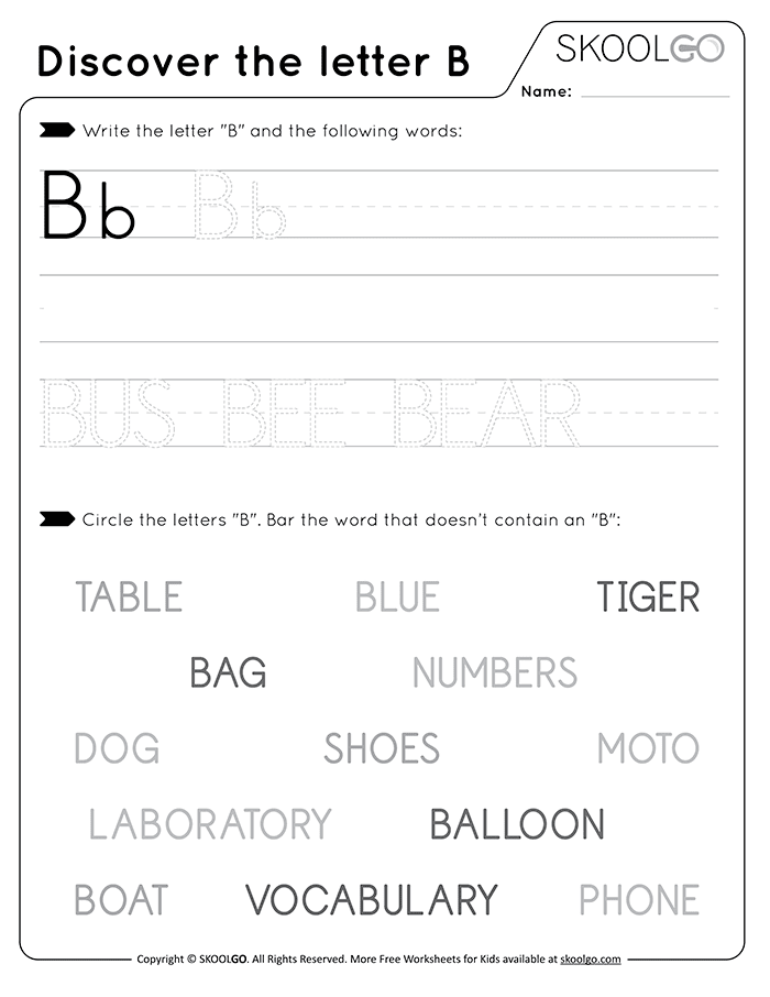 Discover The Letter B - Free Black and White Worksheet for Kids
