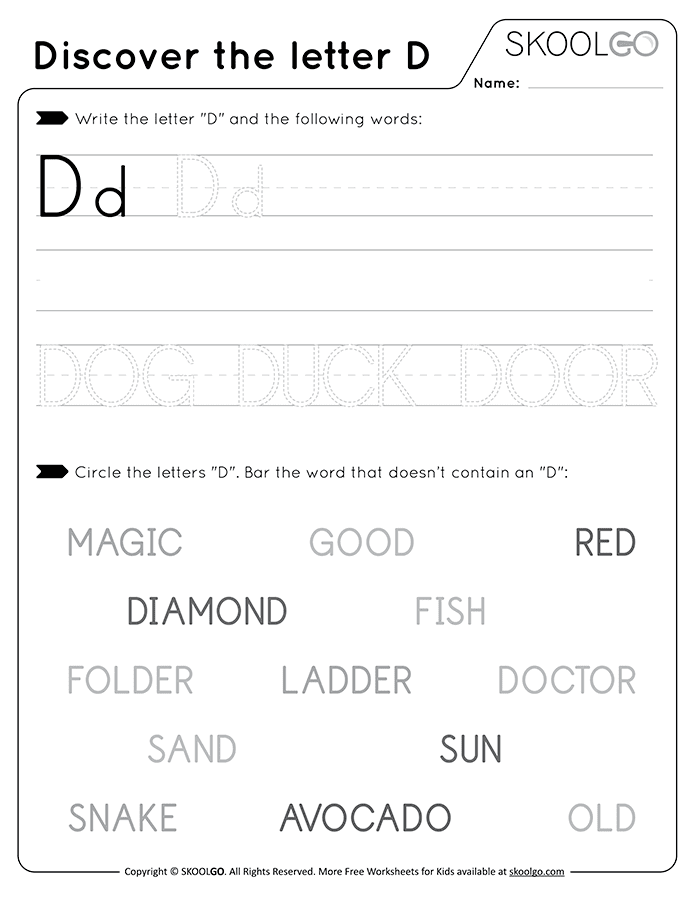 Discover The Letter D - Free Black and White Worksheet for Kids