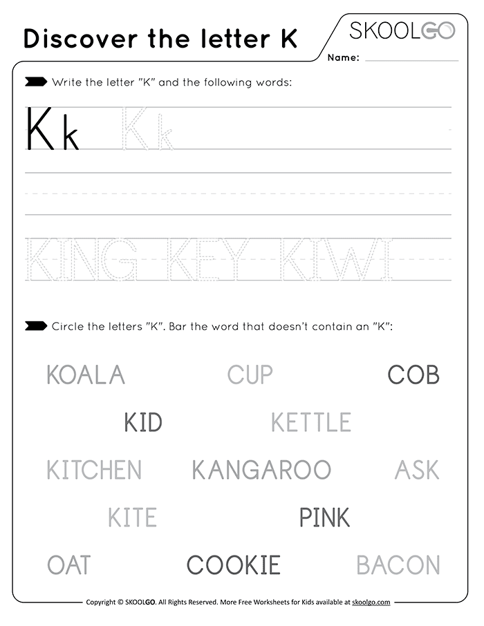 Discover The Letter K - Free Black and White Worksheet for Kids