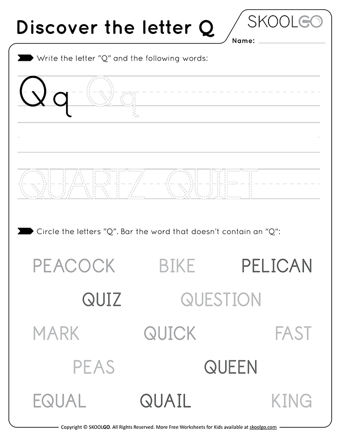 Discover The Letter Q - Free Black and White Worksheet for Kids
