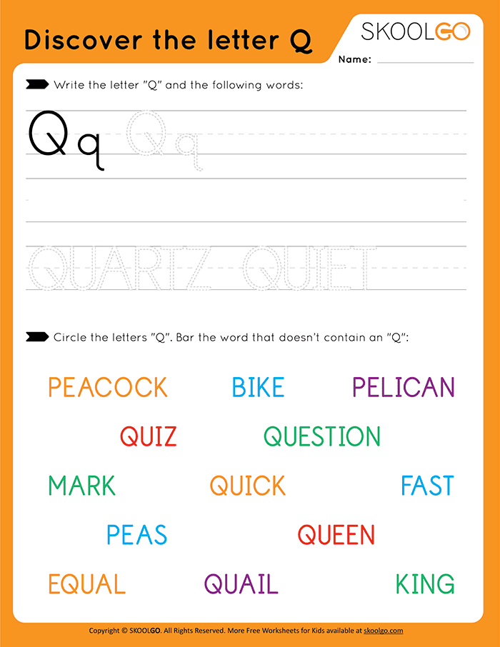 Discover The Letter Q - Free Worksheet for Kids