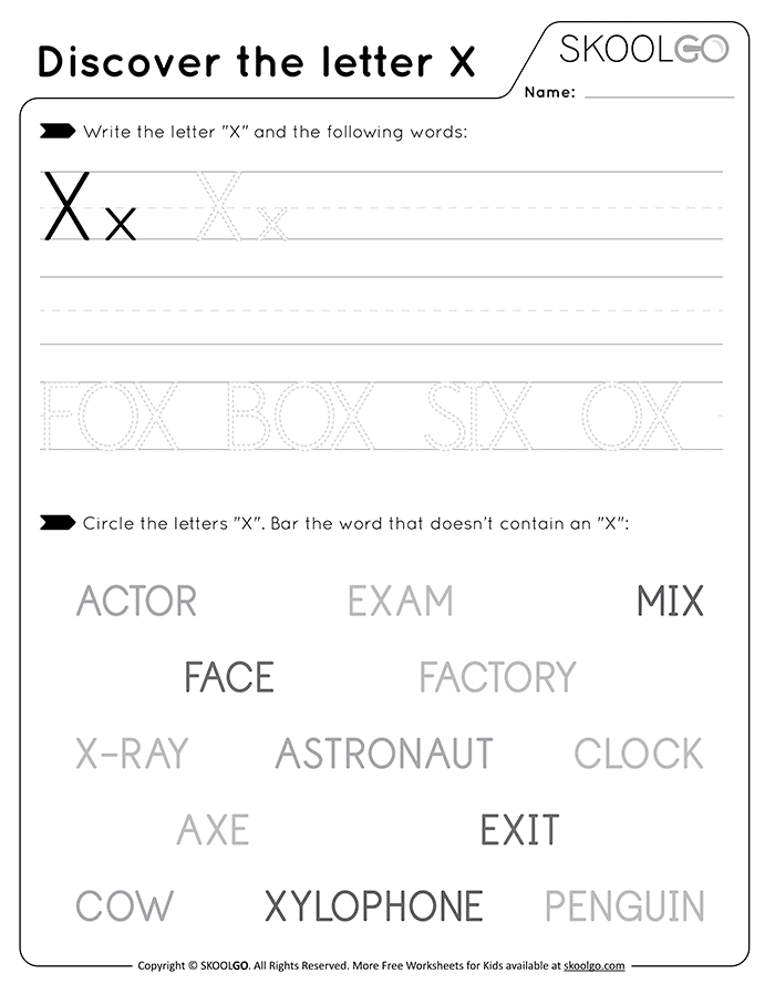 Discover The Letter X - Free Black and White Worksheet for Kids