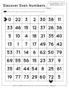Even Numbers Labyrinth Free Worksheet (Black and White)