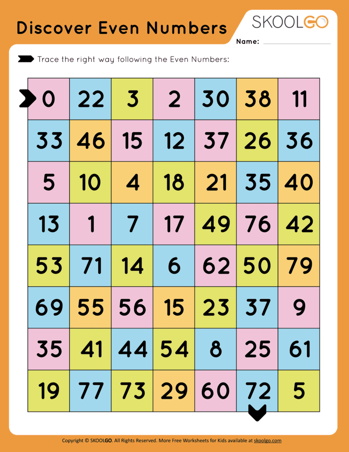 Even Numbers Labyrinth Free Worksheet