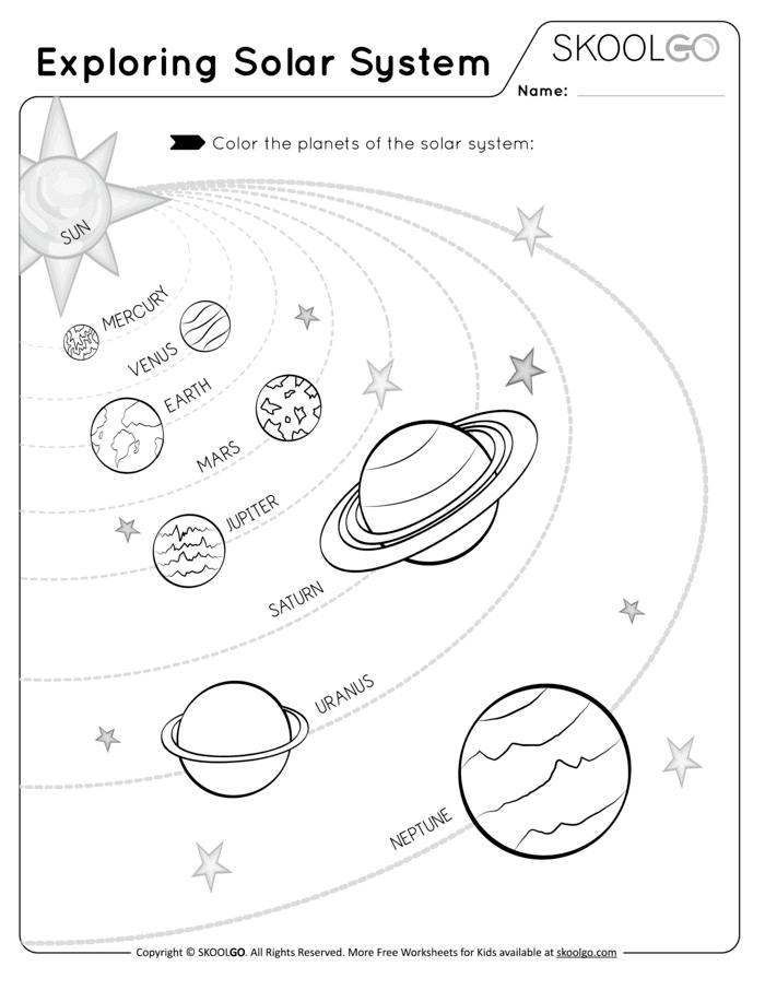Exploring the Solar System - Free Worksheet (Black-White)