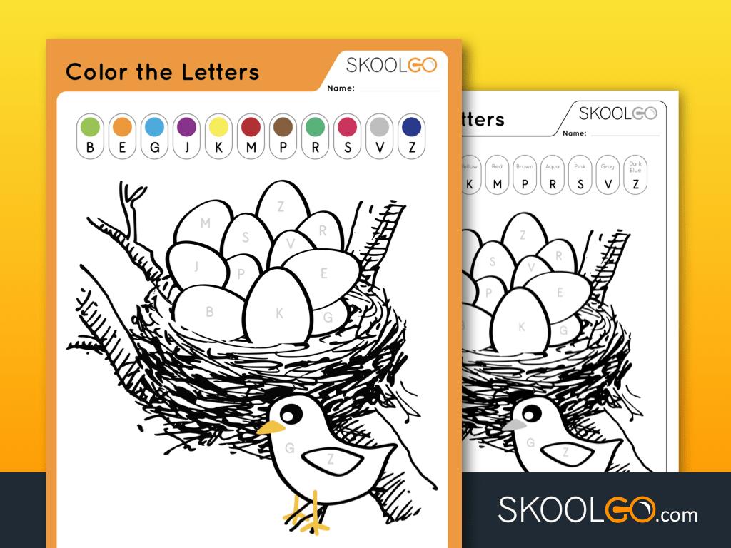 Free Worksheet Color The Letters - SKOOLGO