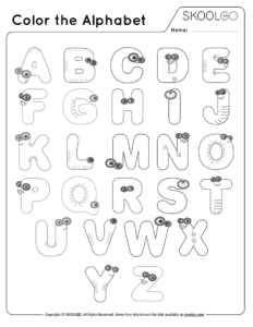 Color The Alphabet - Free Black and White Worksheet for Kids