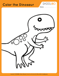 Color The Dinosaur - Free Worksheet for Kids