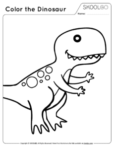 Color The Dinosaur - Free Black and White Worksheet for Kids