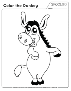 Color The Donkey - Free Black and White Worksheet for Kids