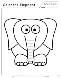 Color The Elephant - Free Black and White Worksheet for Kids