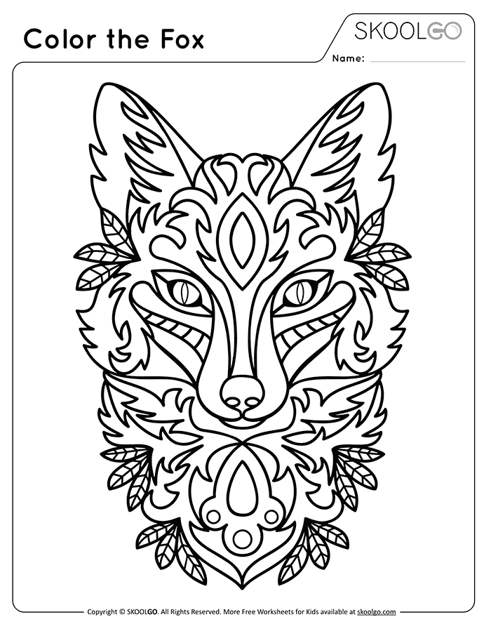Color The Fox - Free Black and White Worksheet for Kids