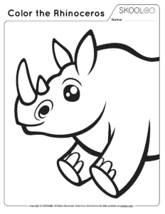 Color The Rhinoceros - Free Black and White Worksheet for Kids