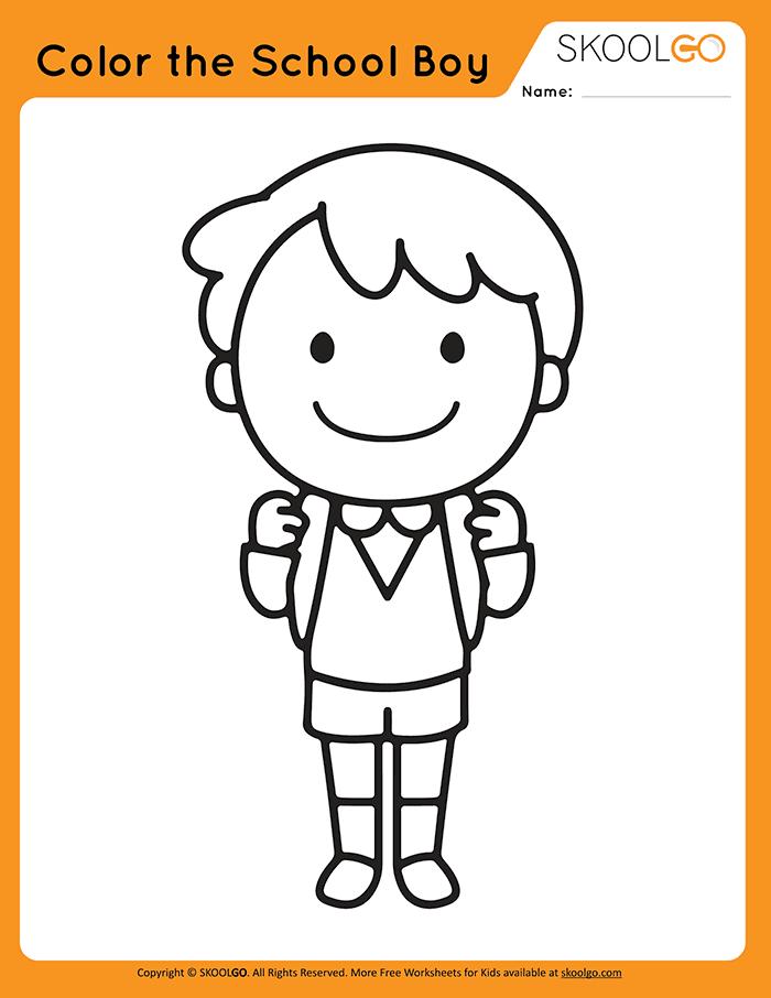 Color The School Boy - Free Worksheet for Kids