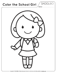 Color The School Girl - Free Black and White Worksheet for Kids