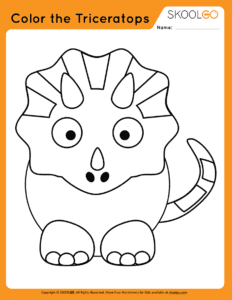 Color The Triceratops - Free Worksheet for Kids