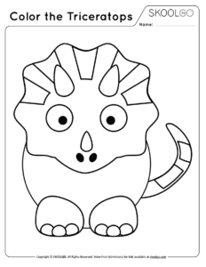 Color The Triceratops - Free Black and White Worksheet for Kids
