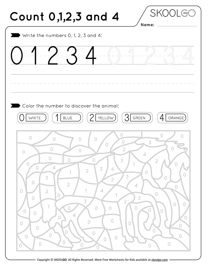 Count 0-1-2-3-4 - Free Black and White Worksheet for Kids