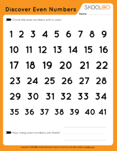 Discover Even Numbers - Free Worksheet for Kids