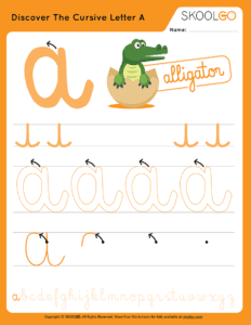 Discover The Cursive Letter A - Free Worksheet for Kids