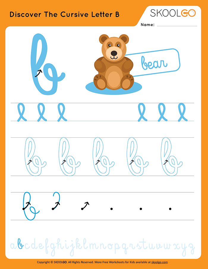 Discover The Cursive Letter B - Free Worksheet for Kids