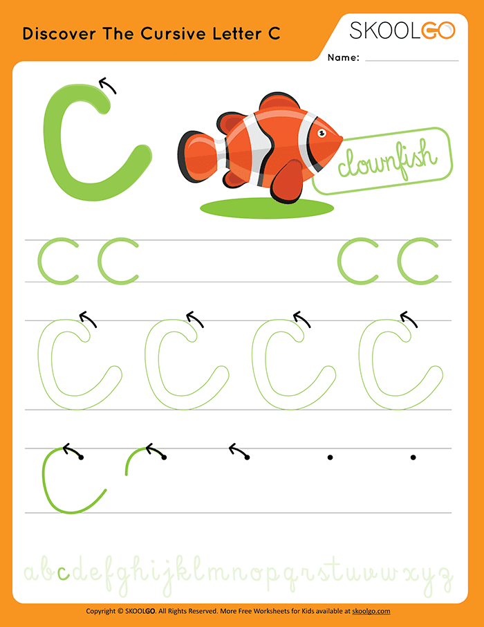 Discover The Cursive Letter C - Free Worksheet for Kids