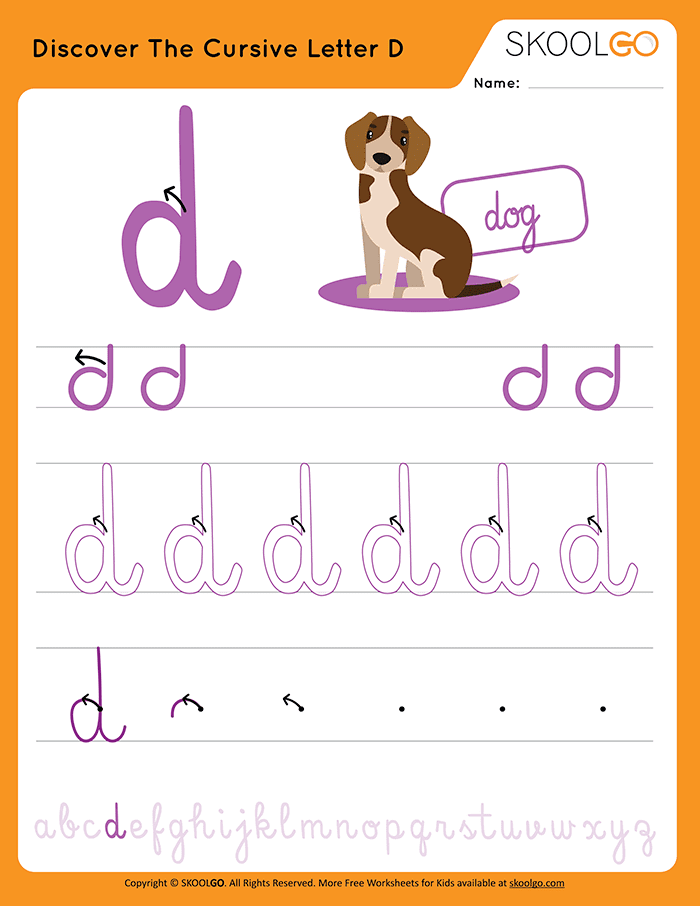 Discover The Cursive Letter D - Free Worksheet for Kids