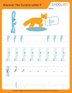 Discover The Cursive Letter F - Free Worksheet for Kids