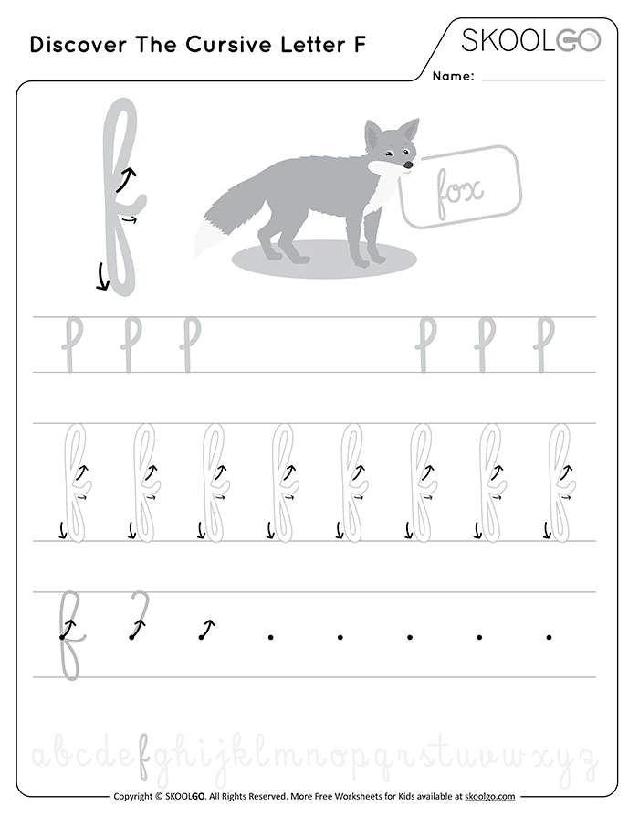 Discover The Cursive Letter F - Free Black and White Worksheet for Kids