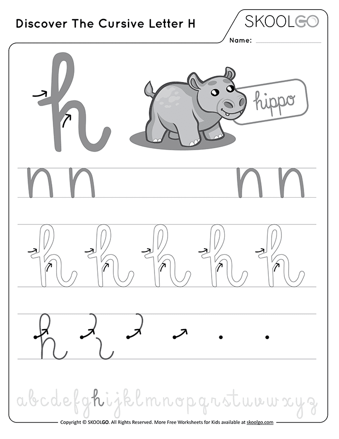 Discover The Cursive Letter H - Free Black and White Worksheet for Kids