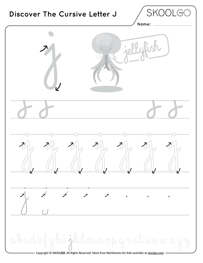 Discover The Cursive Letter J - Free Black and White Worksheet for Kids