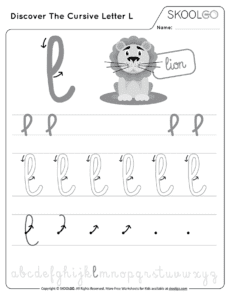 Discover The Cursive Letter L - Free Black and White Worksheet for Kids