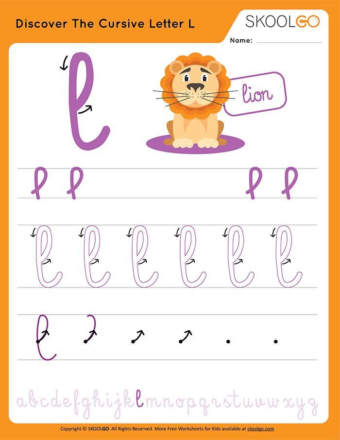 Discover The Cursive Letter L - Free Worksheet for Kids
