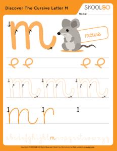 Discover The Cursive Letter M - Free Worksheet for Kids