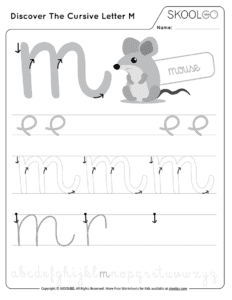 Discover The Cursive Letter M - Free Black and White Worksheet for Kids