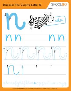 Discover The Cursive Letter N - Free Worksheet for Kids