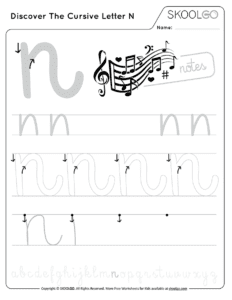 Discover The Cursive Letter N - Free Black and White Worksheet for Kids
