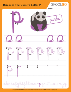 Discover The Cursive Letter P - Free Worksheet for Kids